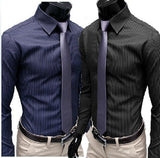 Men's Stripe Stylish Long Sleeve Dress Shirts - Dress Shirts - eDealRetail - 1