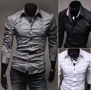 Chest Fold Design Luxury Dress Shirts - Casual Shirts - eDealRetail - 1