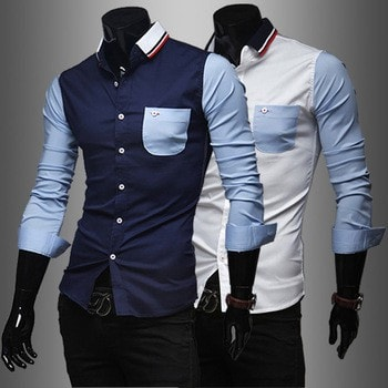 Mens Slim Fit Shirts Block Decoration Fashion Long-Sleeve Pocket Tee - Casual Shirts - eDealRetail - 1