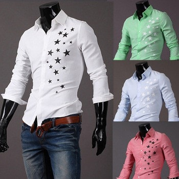 Print Star Long-Sleeve Slim Dress Shirts - Casual Shirts - eDealRetail - 1