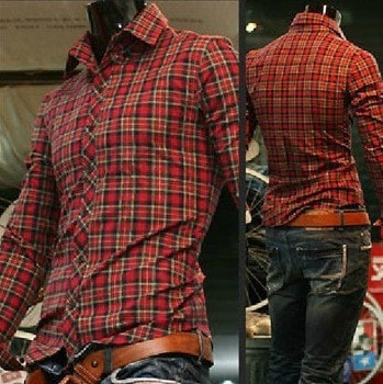 Long Sleeve Turn Down Collar Plaid Shirts - Casual Shirts - eDealRetail - 1