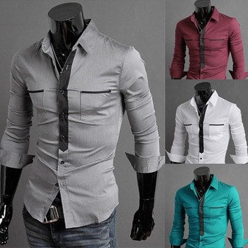 Long Sleeve Trendy Double Pocket Dress Shirts - Casual Shirts - eDealRetail - 1