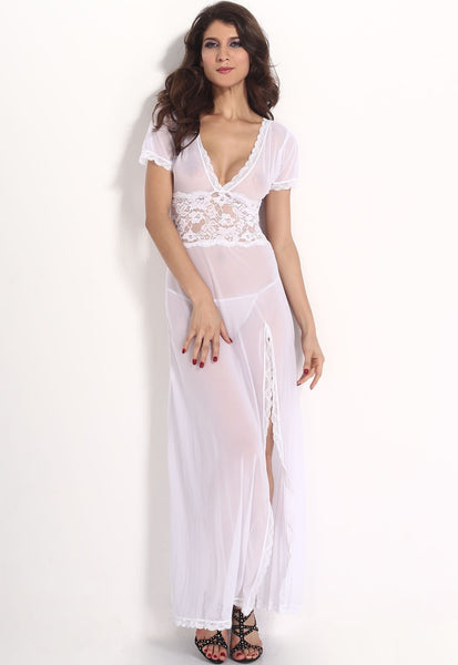Sexy V-Neck Lace Long Nightgowns - lingerie - eDealRetail - 2