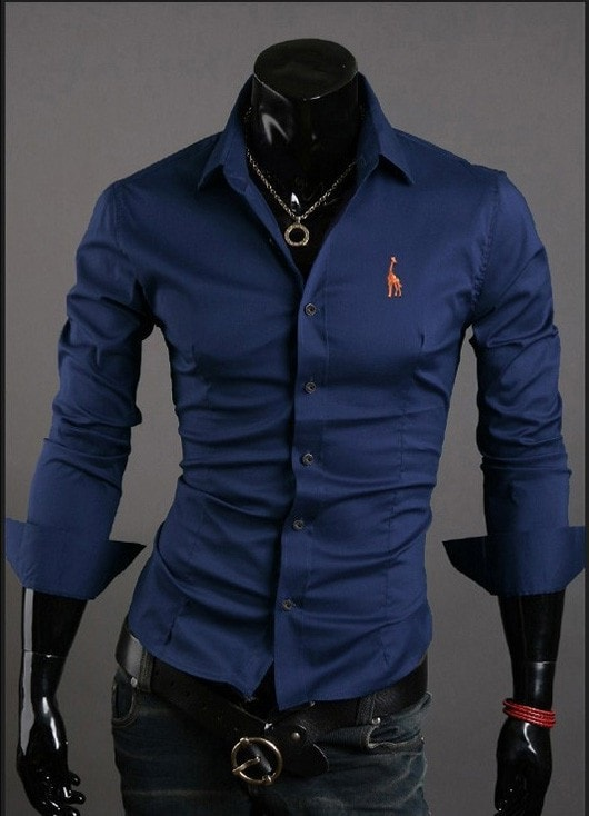 Mens Casual Button Down Shirts Embroidered Logo - Dress Shirts - eDealRetail - 3