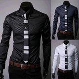 Fitted Shirts For Men Designer Plaid Stripes Pattern - Dress Shirts - eDealRetail - 1
