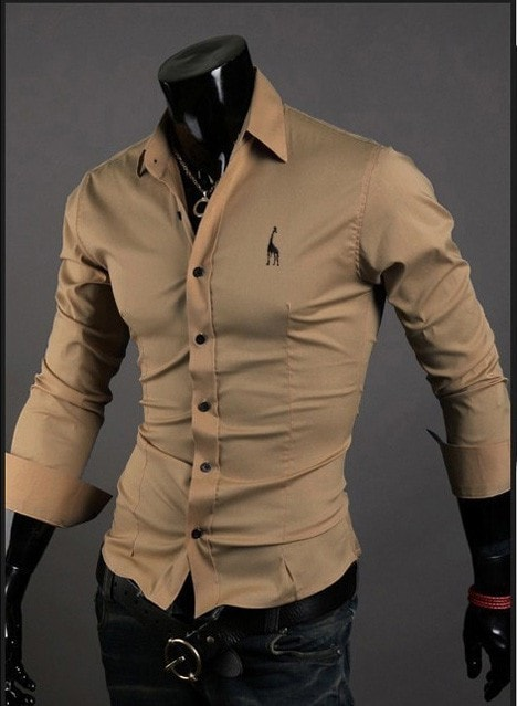 Mens Casual Button Down Shirts Embroidered Logo - Dress Shirts - eDealRetail - 5