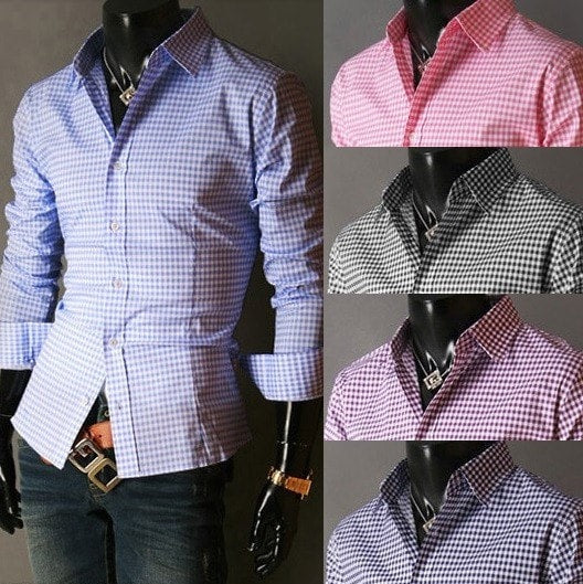 Spring French Plaid  Long Sleeve Collar Shirts - Casual Shirts - eDealRetail - 1