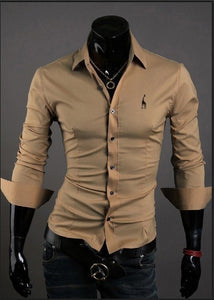 Mens Casual Button Down Shirts Embroidered Logo - Dress Shirts - eDealRetail - 6