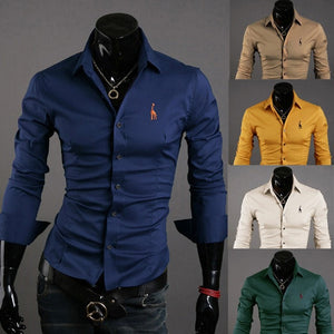 Mens Casual Button Down Shirts Embroidered Logo - Dress Shirts - eDealRetail - 1