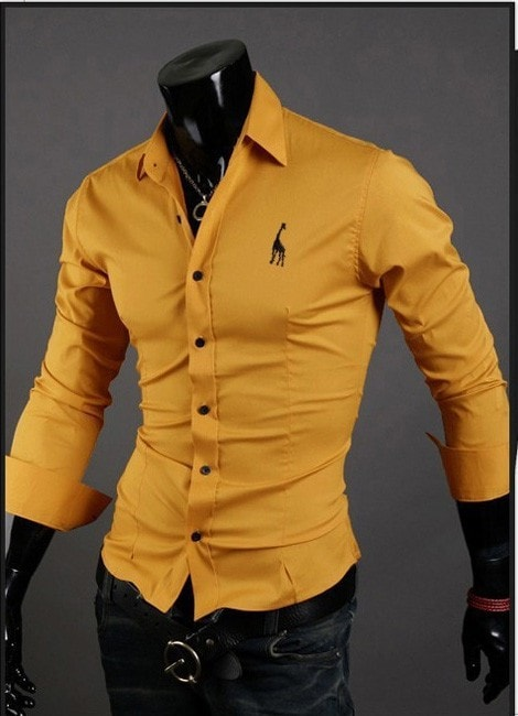Mens Casual Button Down Shirts Embroidered Logo - Dress Shirts - eDealRetail - 8