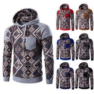 Aztec Print Multi-Color Patchwork Hoodie - Hoodies - eDealRetail - 1