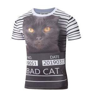 Bad Cat Criminal 3D Print Shirt - 3D T-Shirts - eDealRetail