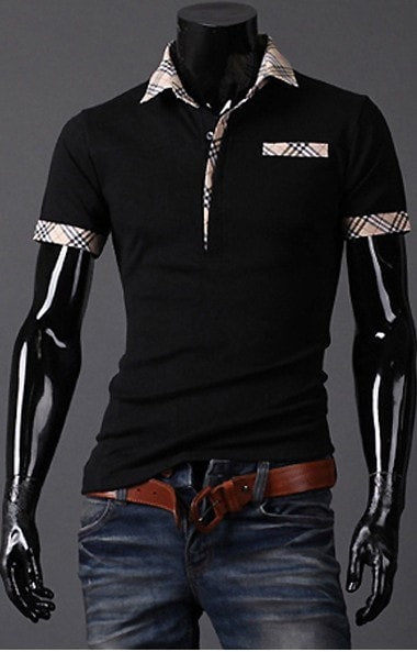 Fitted T Shirts Mens Turn Down Collar Short Sleeve Polo - Casual Shirts - eDealRetail - 2