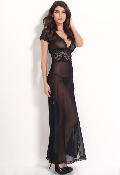 Sexy V-Neck Lace Long Nightgowns - lingerie - eDealRetail - 7