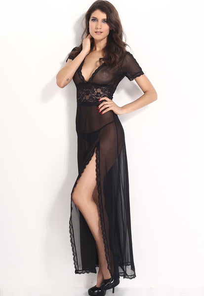 Sexy V-Neck Lace Long Nightgowns - lingerie - eDealRetail - 8
