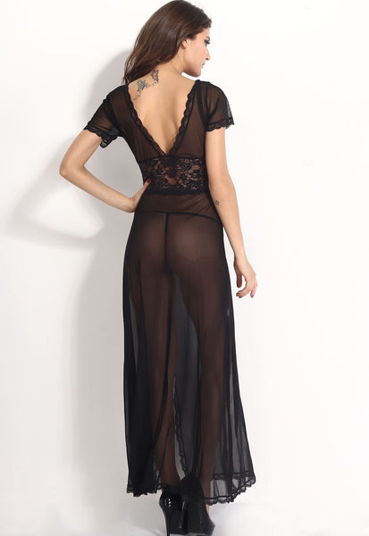Sexy V-Neck Lace Long Nightgowns - lingerie - eDealRetail - 9