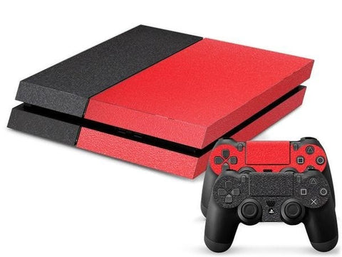 Black/Red Leather Print PS4 Skin + 2 Controller Skins - PS4 Skins - eDealRetail - 1