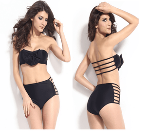 Black Bow Bandeau High Waisted Bikini - Swimsuit - eDealRetail - 1