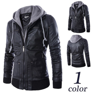 Black Hooded Zip Leather Jacket - Jacket - eDealRetail - 1