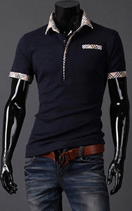 Fitted T Shirts Mens Turn Down Collar Short Sleeve Polo - Casual Shirts - eDealRetail - 5