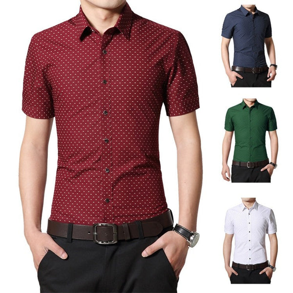 Designer Short Sleeve Dotted Shirts - Casual Shirts - eDealRetail - 1