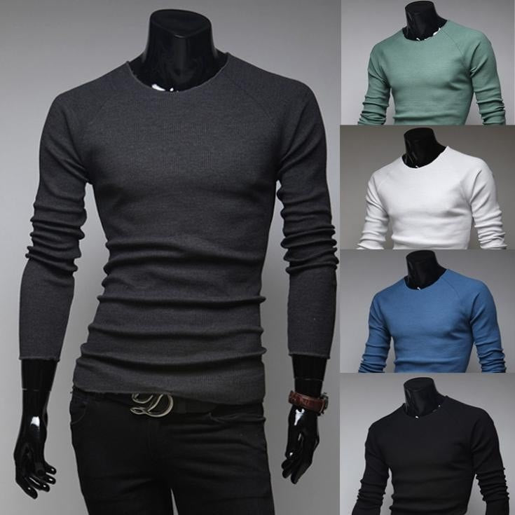 Slim O-Neck Long-Sleeve Sweater - sweater - eDealRetail - 1
