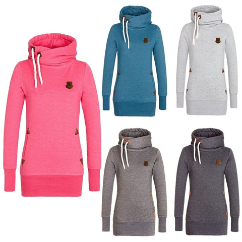 Funnel Neck Pullover Hoodies For Women - Hoodies - eDealRetail - 1