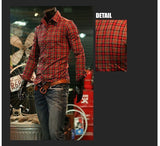Long Sleeve Turn Down Collar Plaid Shirts - Casual Shirts - eDealRetail - 3