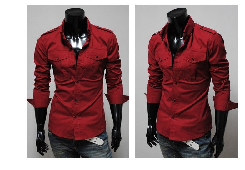 Two-Pocket Slim Long-Sleeved Shirt - Casual Shirts - eDealRetail - 10
