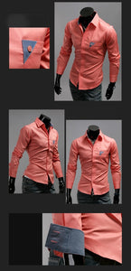 Men's Bright Leisure Self-Cultivation Shirts 4 Colors - Dress Shirts - eDealRetail - 8