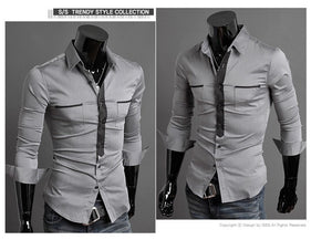 Long Sleeve Trendy Double Pocket Dress Shirts - Casual Shirts - eDealRetail - 4