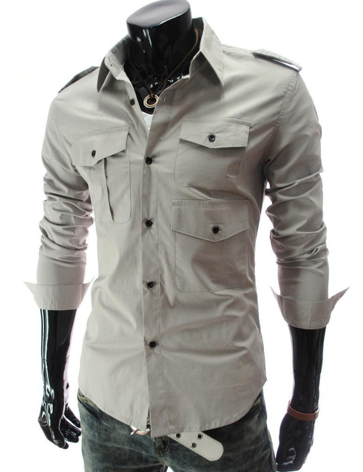 Casual Long Sleeve Solid Dress Shirts - Casual Shirts - eDealRetail - 16
