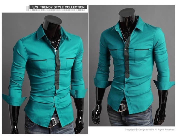 Long Sleeve Trendy Double Pocket Dress Shirts - Casual Shirts - eDealRetail - 3