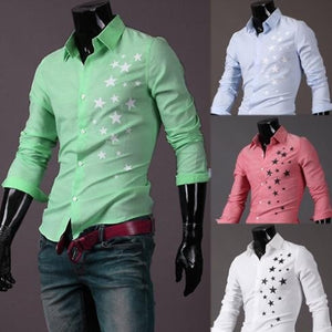 Print Star Long-Sleeve Slim Dress Shirts - Casual Shirts - eDealRetail - 8
