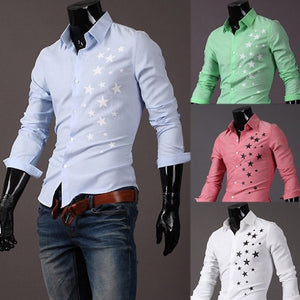 Print Star Long-Sleeve Slim Dress Shirts - Casual Shirts - eDealRetail - 2