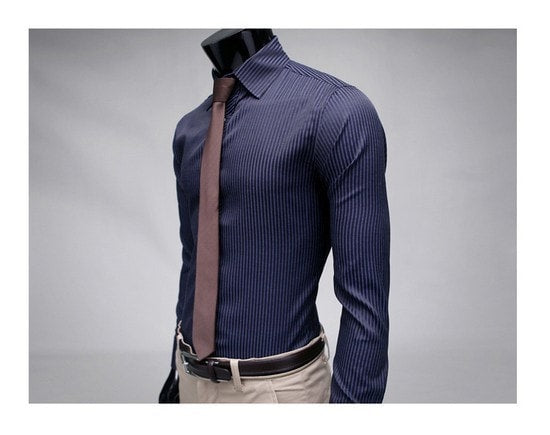 Men's Stripe Stylish Long Sleeve Dress Shirts - Dress Shirts - eDealRetail - 4