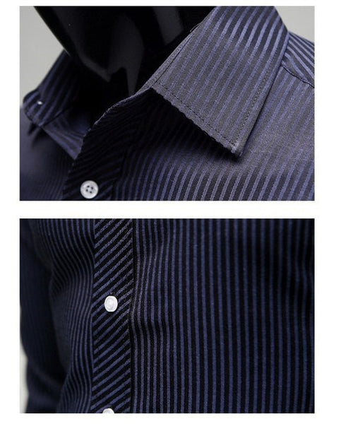 Men's Stripe Stylish Long Sleeve Dress Shirts - Dress Shirts - eDealRetail - 2