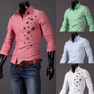 Print Star Long-Sleeve Slim Dress Shirts - Casual Shirts - eDealRetail - 3