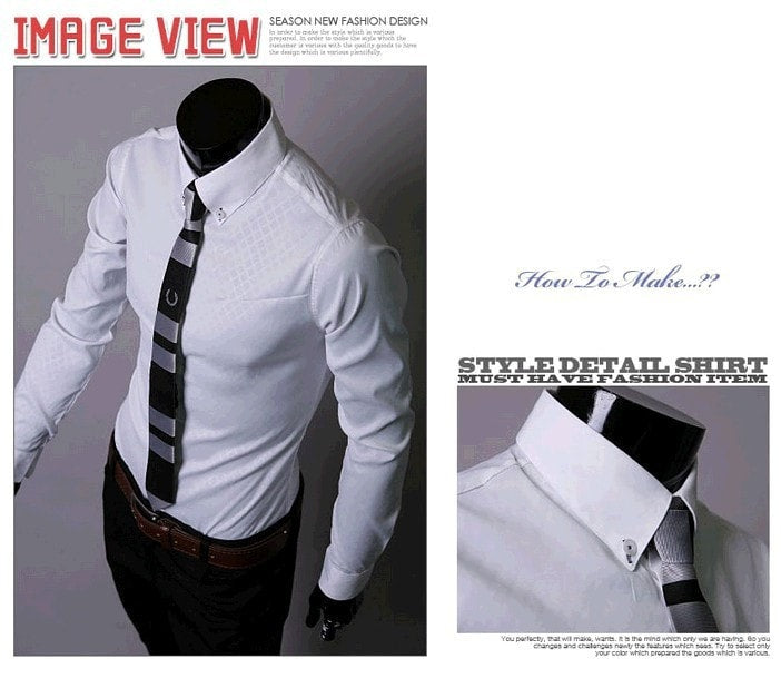 Fitted Shirts For Men Designer Plaid Stripes Pattern - Dress Shirts - eDealRetail - 5