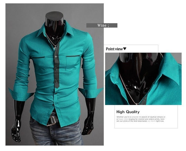 Long Sleeve Trendy Double Pocket Dress Shirts - Casual Shirts - eDealRetail - 7