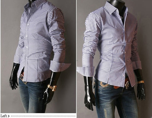 Spring French Plaid  Long Sleeve Collar Shirts - Casual Shirts - eDealRetail - 4