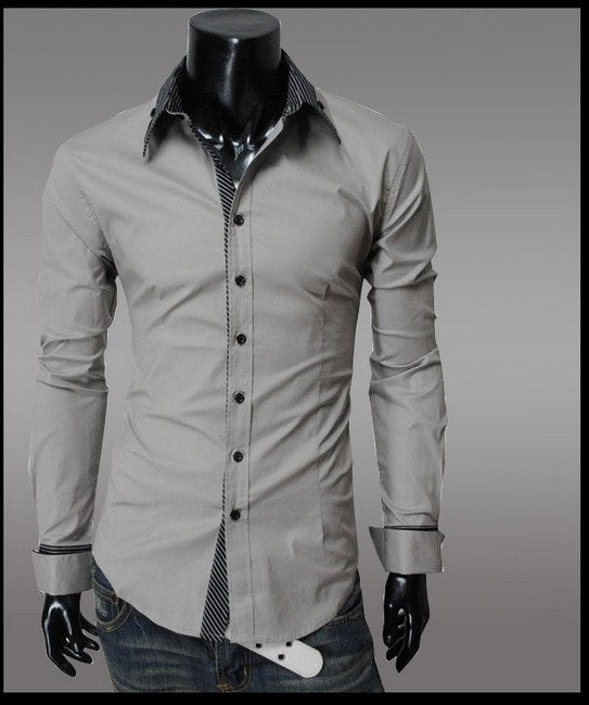 Fashion Long Sleeve Shirt Men's Cotton - Casual Shirts - eDealRetail - 5