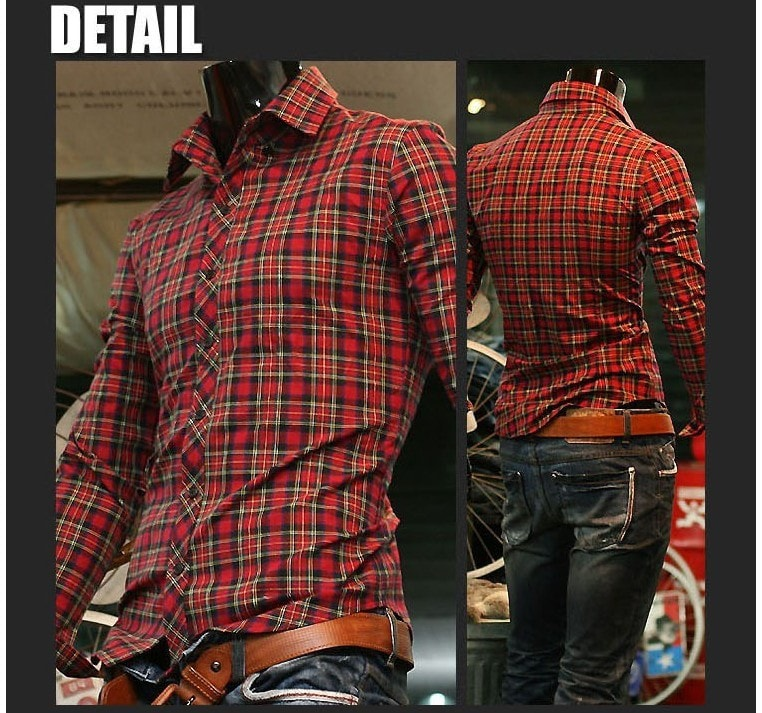 Long Sleeve Turn Down Collar Plaid Shirts - Casual Shirts - eDealRetail - 2