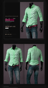 Print Star Long-Sleeve Slim Dress Shirts - Casual Shirts - eDealRetail - 4