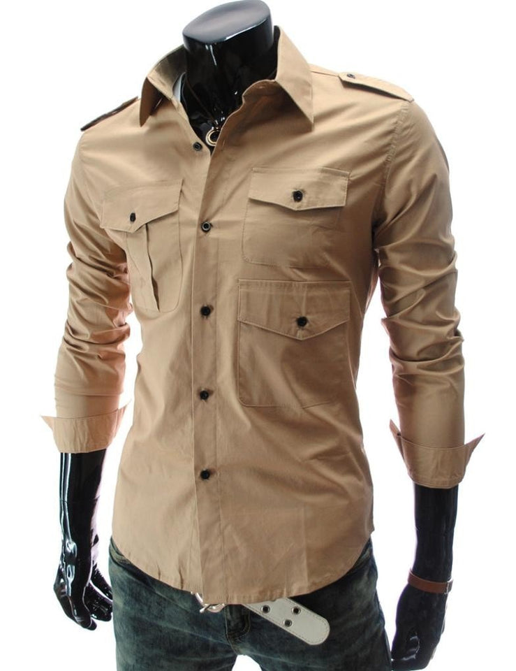 Casual Long Sleeve Solid Dress Shirts - Casual Shirts - eDealRetail - 3