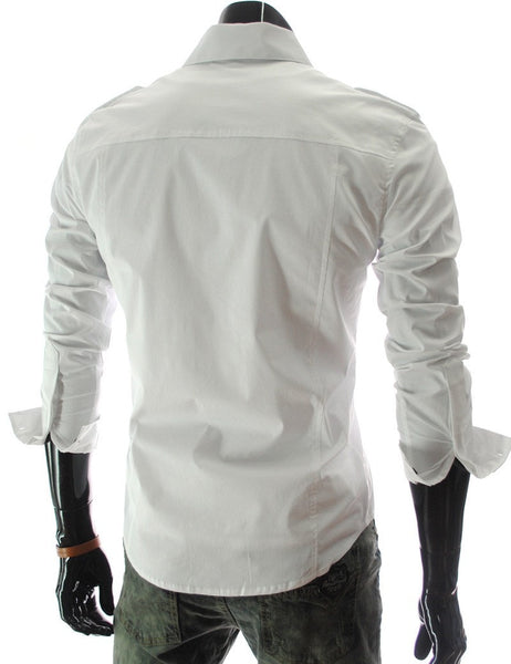 Casual Long Sleeve Solid Dress Shirts - Casual Shirts - eDealRetail - 5