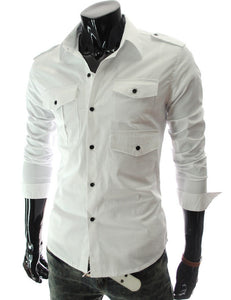 Casual Long Sleeve Solid Dress Shirts - Casual Shirts - eDealRetail - 8