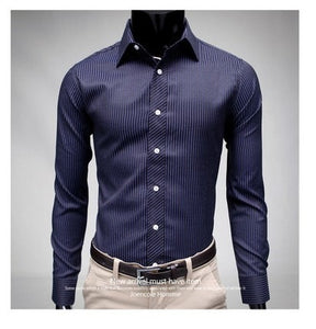 Men's Stripe Stylish Long Sleeve Dress Shirts - Dress Shirts - eDealRetail - 7