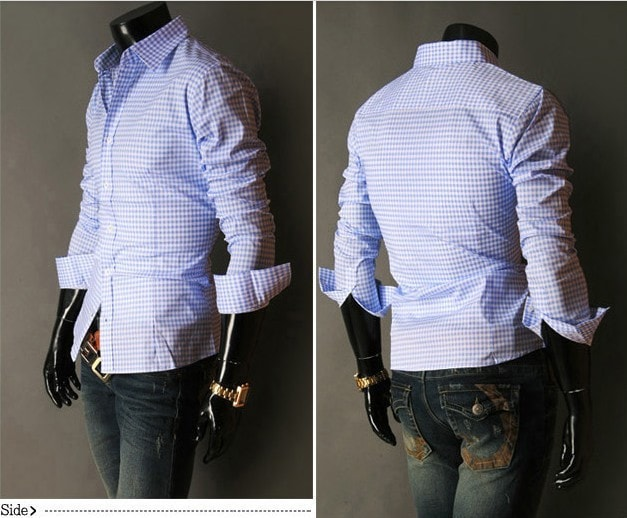 Spring French Plaid  Long Sleeve Collar Shirts - Casual Shirts - eDealRetail - 9