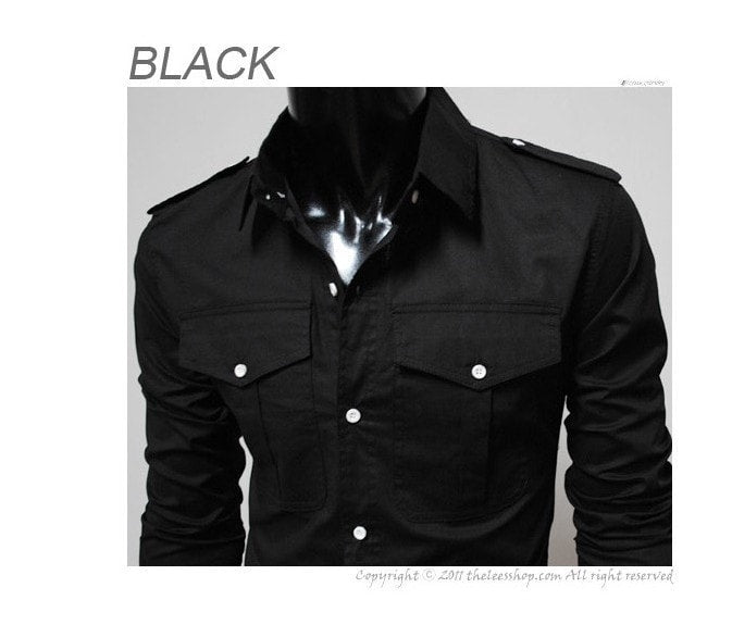 Two-Pocket Slim Long-Sleeved Shirt - Casual Shirts - eDealRetail - 6